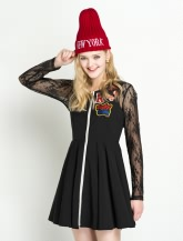 撞色贴布两件套连衣裙