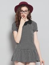 【乐町】小方格花朵领连衣裙