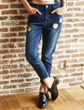 【乐町】印花直筒牛仔裤